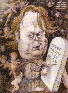 "Christopher Hitchens ""Ten Commandments"" cartoon sketch"